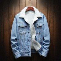Autumn Winter Fur Denim Jacket Women Bomber Jacket Female Jeans Coat with Full Warm Lining & Front Button Flap Pockets