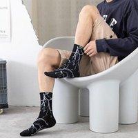 Men's Socks 2021 Street Trend High-top Men And Cotton Color Women Calcetines Skateboard Basketball U1c7