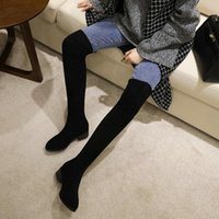 Boots Soft Flock Woman Shoes Round Toe Chunky Heels Overknees For Women Stretch Slim Socks Booties Black Brown Grey Winter