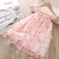 Niños niñas verano linda niña vestido bebé patrón de flores sin mangas cordón princesa vestidos malla hermosa ángel vistes
