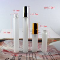 50pcs lot 5ML 10ML Frosted Glass Spray Bottle Refill Perfume Atomizer Portable Mini Sample Vials with Gold Silver Black Cap