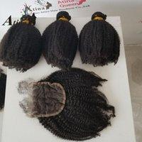 الشعر البشري تعود المنغولية الأفرو غريب مجعد نسج 3 حزم مع إغلاق 4PCS العذراء 4x4 الدانتيل أتينا