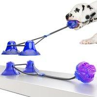 Köpek Molar Bite Oyuncak Pet Çiğneme Oyuncaklar Dağıtım Çift Vantuz Çekme Topu Temizleme Diş Dağıtıcı Çiğnemek