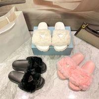 Designer di lusso donna pantofole in lana scivolo inverno pelliccia inverno lanuginoso peloso lettere sandali caldi comodi scivoli fluzzy girl girl flip flop scarpe da pantofola