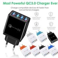 Portable 4 ports Fast Charge rapide QC3.0 USB Hub Chargeur mural 4.1A Adaptateur d'alimentation universel EU US PLUCLE PHOTO PHONE CHARGERS DE CHARGERS AVEC VITESTRE