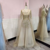 Party Dresses YQLNNE Luxury Gold Stones Cape Sleeves Evening Sparkling Dubai Beading Tulle Formal Gowns For Woman