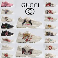 Gucci Rhyton Hommes Madame Sapatos Casuais Vintage Entraîneur Sneaker Clunky Cuir Morango Lèvre Apple Vermelho Stripe Luxurys Formateurs De Coururs Designer # 6xaa