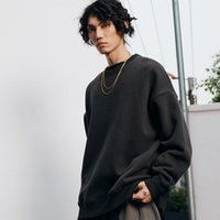 Men's Hoodies & Sweatshirts Autumn And Winter Oversize Plus Velvet Thick Solid Color Loose Off-shoulder Round Neck Sweater Men