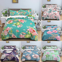 Bedding Sets Peach Blooming Pattern Duvet Cover With Pillowcase 2 3Pcs Quilt Set Soft Single Double Queen King Size Comforter