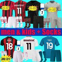 Erkekler Çocuklar 2021 2022 Ibrahimovic AC Üçüncü Milano Futbol Forması Kiti 20 21 22 Theo Paqueta Bennacer Romagnoli Tonali Rebic Set Üniforma Futbol Gömlek