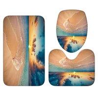 Sea Sunset Beach Theme Duschvorhang Rutschfeste Matte Set Wasserdichte Sockel Teppich Decke Deckel WC Deckung Bad Teppiche Vorhänge