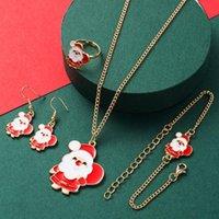 Earrings & Necklace Christmas Jewelry Sets Santa Claus Xmas Tree Bells Elk Bracelet Ring 4pcs set Kids Women Girls Year Gift