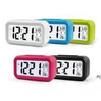 플라스틱 음소거 알람 시계 LCD 스마트 시계 온도 귀여운 감광성 침대 옆 디지털 알람 시계 스누즈 야간 달빛 달력 BWF11363