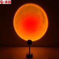 USB Gökkuşağı Günbatımı Kırmızı Projektör LED Gece Lambası Güneş Projeksiyon Masası Lambası Yatak Odası Bar için Kahve Mağazası Duvar Dekorasyon Aydınlatma