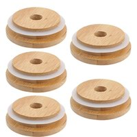 Kitchen Storage & Organization 5 PCS 70mm 86mm Bamboo Wood Mason Jar Lid With Straw Hole Silicone Seal Ring Wide Mouth Cup Covers Caps