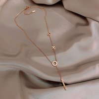 Titanium Steel Love Letter Does Not Fade Necklace Rose Gold Cold Wind Clavicle Chain Temperament Neck Women's Fashion Short Pendant