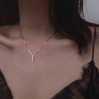 Halskette anenjery einfache streifen geometrische kubische Zirkon Silber Farbe Schlüsselbeinkette Charm für Frauen S-N545