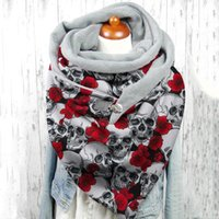 Scarves Women 2021 Winter Warm Skeleton Printing Button Soft Wrap Casual Double-layer Shawls Foulard Femme D5