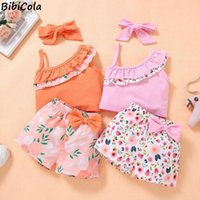Lovely Kid Baby Girls Floral Clothes Sets Summer Sling Sleeveless Tops+ Shorts + Headband 3pcs Outfits Fashion Clothing 2-5Years