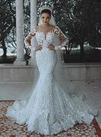 Luxury CRYSTALS BEADS Long Sleeves Plus Size WEDDING DRESS ARABIC MERMAID SEXY ILLUSION with Lace Appliques