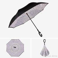 Invertierte Regenschirme mit C-Griff-Griff-Doppelschicht innerhalb von winddichter Strand-Rückwärts-Folding Sunny Rainy Regenschirm WLL554-3