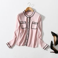 2021 Autumn Winter Long Sleeve Round Neck White   Black Pink Contrast Color Woolen Knitted Pockets Single-Breasted Cardigan Sweater Fashion Sweaters 21S12ZK2350