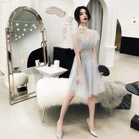 2020 New Gray Color Lace Bridesmaid Dresses Plus Size Vestido Prom Gown Appliques Wedding Dress