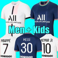 Messi Mbappe Hakimi Sergio Ramos Wijnaldum Soccer Jersey 22 22 PSG Maillots Camisa de fútbol 2021 2022 Marquinhos Men Kits Kits Uniform Enfants Maillot de Pie Jerseys