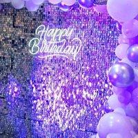 5000 pz Shimmer Sequin per il pannello attivato dell'aria Backdrop da sposa sfondo Decorazione dal vivo Shimmering Turchese Specchio Specchio Party Wall