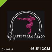 Gymnastics fix Iron On Custom Rhinestone Transfer Crystal Pink Motif 4611