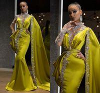 Arabic Lemon Green Crystals Formal Evening Dresses 2021 Mermaid Style Dubai Indian High Neck One Sleeve Cape Beads Long Trumpet Prom Dress
