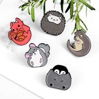 Pins, Brooches Cute Enamel Pins Custom Chinchilla Hedgehog Otter Penguin Dragon Badge Brooch Lapel Pin Shirt Bag Jewelry Gift For Kids Frien