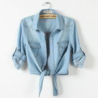 Summer Women 100% Cotton Denim Basic Jacket Coat Female Short Jeans Jackets Bomber Outerwear & Coats Plus Size XS-3XL