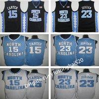 NCAA Vince Carter Unc Jersey Nord Carolina 15 Vince Carter Blu Bianco Bianco Cucito NCAA College Basket Basket Blower Pantaloncini da ricamo Pantaloncini da basket Consegna veloce