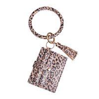 Portachiavi auto Braccialetto Moda in pelle PU Leopard Leopard Custodia per cellulare Caso rotondo Fibbia a molla rotonda con accessori a vite 9xU7805
