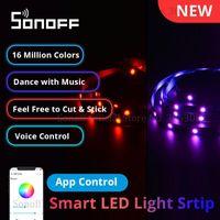 Smart Control Home Sonoff L1 Lite Wi-Fi LED Tira de Luz 5M Dimmable EU Dimmable Luzes RGB FLEXÍVEIS APP Trabalho Remoto com Alexa