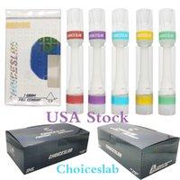 ABD Stok ChoicesLab Vapes Kartuşları Tam Seramik Vape Kalemler Atomizer Ambalaj 510 Konu Sepeti Tek Kullanımlık E Sigara Hologram Kutusu 0.8ml Basın İpucu 10 Renk
