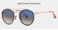 Design clássico redondo óculos de sol dirigindo óculos de ouro moldura de ouro óculos homens mulheres lente de vidro