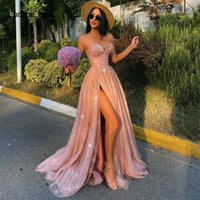 Sparkly Tulle Elegant Evening Dress A-Line Sweetheart Sexy High Split Cocktail Formal Party Gown Prom 2021 Robes De Soirée