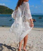 2020 Women Mesh Cover up Swimwear Saida de Praia Lace Embroidery Swimsuit Cover up Sarong Kimono Summer Beach Cover up Dress Vestidos de