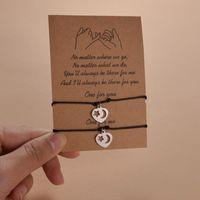 Charm Bracelets 2pcs set Woven Paper Card Bracelet Women Adjustable Lucky Couple String Femme Fashion Jewelry