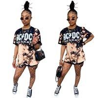 Kadın Kravat Boya T-shirt ACDC Siyah Mektup Baskı Kısa Kollu Gömlek Kaya Bandı Grafik Tee Tops Bluz