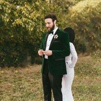 Vintage Green Velvet Groom Tuxedo Suits Men For Wedding Smoking Jacket Man Blazer Costume Homme Slim Fit Terno Masculino Men's & Blazers