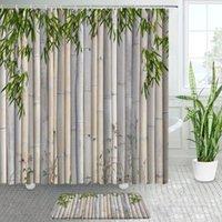 Shower Curtains Green Bamboo Zen Bathroom Decor Bath Mats Sets Home Polyester Fabric Chic Curtain Non-slip Carpet Door Mat
