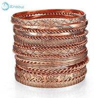 Ensoul 2021 Fashion 19Pcs/Lot Antique Copper Charm Bracelets & Bangles For Women Round Iron Alloy Bracelete Bangle