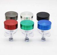 쿨 해골 아크릴 허브 그라인더와 RGB LED 빛 54mm의 2 조각 3 색 빛 플라스틱 담배 연마기 분쇄기 손 파이프에 밤을 적응
