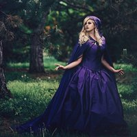 Vintage Purple Wedding Dresses With Cloak Removable 2022 Sweetheart Lace-up Corset Gothic Plus Size Long Sleeve Bridal Gowns