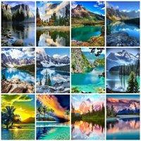 Dipinti Azqsd FAI DA TE Paint by Numbers No Frame Scenery Acrilico Colorare su tela Mountain Decoration Kit completi