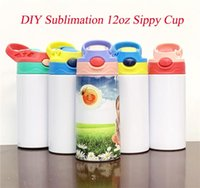 12oz Sublimation sippy cup STRAIGHT Baby Bottle Stainnless Steel Portable Kids Mugs Double Wall Vacuum Feeding Nursing Bottle