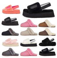 2021 الأزياء فرو النعال أستراليا الرضع زغب نعم الشريحة النساء عارضة الأحذية النسائية الصنادل الفاخرة الفراء الشرائح النعال حجم 36-44